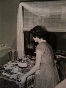 Mom preparing dinner in the upper duplex on Humboldt